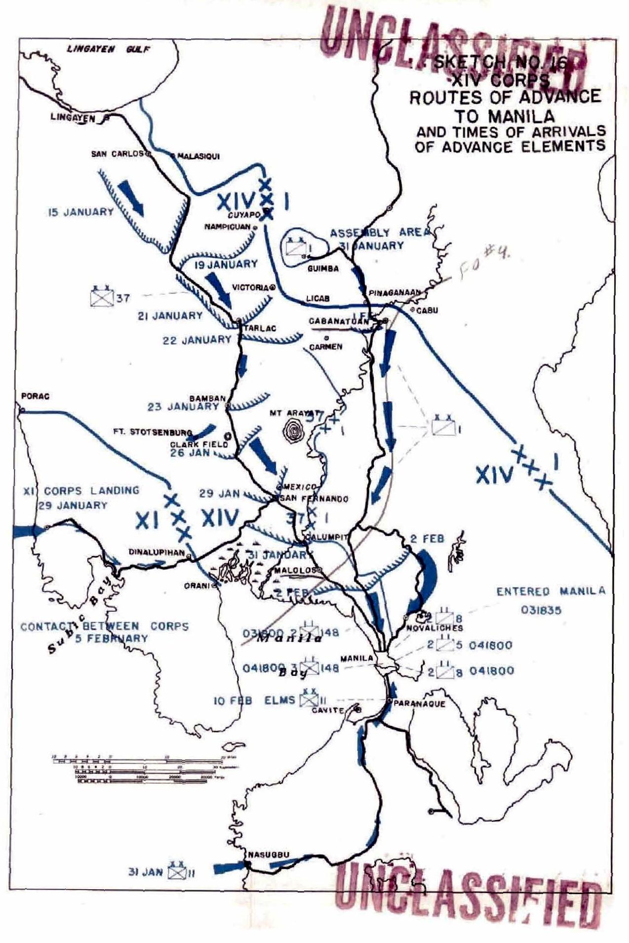 Advance To Manila - Porac map